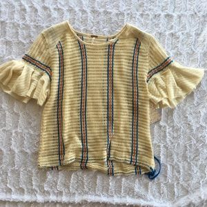 [Free People] Bell Ruffle Sleeve Knit Sweater